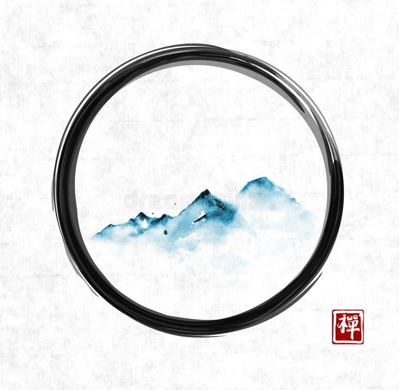Avlägsna blåa berg i dimma i svart ensozencirkel på rispapperbakgrund Traditionell orientalisk färgpulvermålningsumi-e, u vektor illustrationer