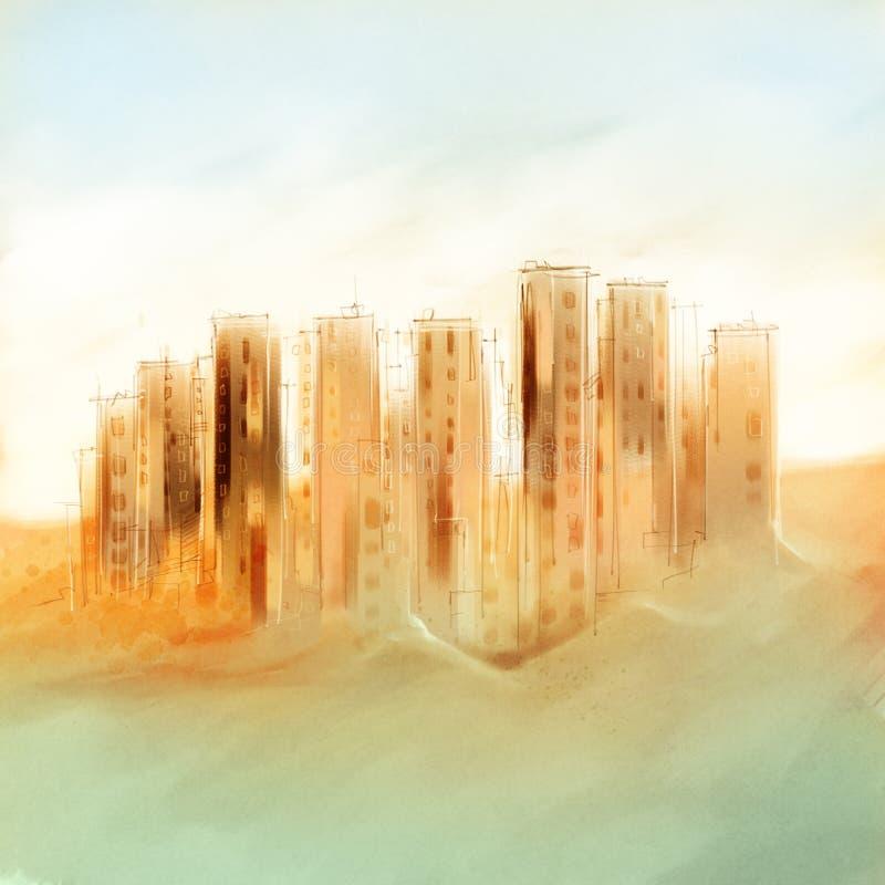 Avlägsna skyskrapor, cityscape - frihandsteckning, löst sugge royaltyfri fotografi