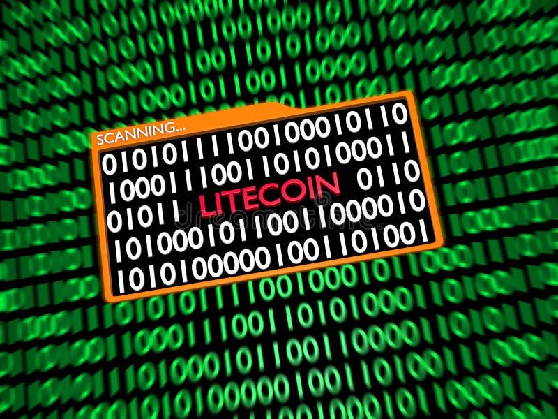 Avläsande dolde Litecoin pengar inom binära siffror vektor illustrationer