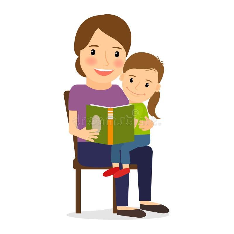 avläsning för bokbarnmoder vektor illustrationer