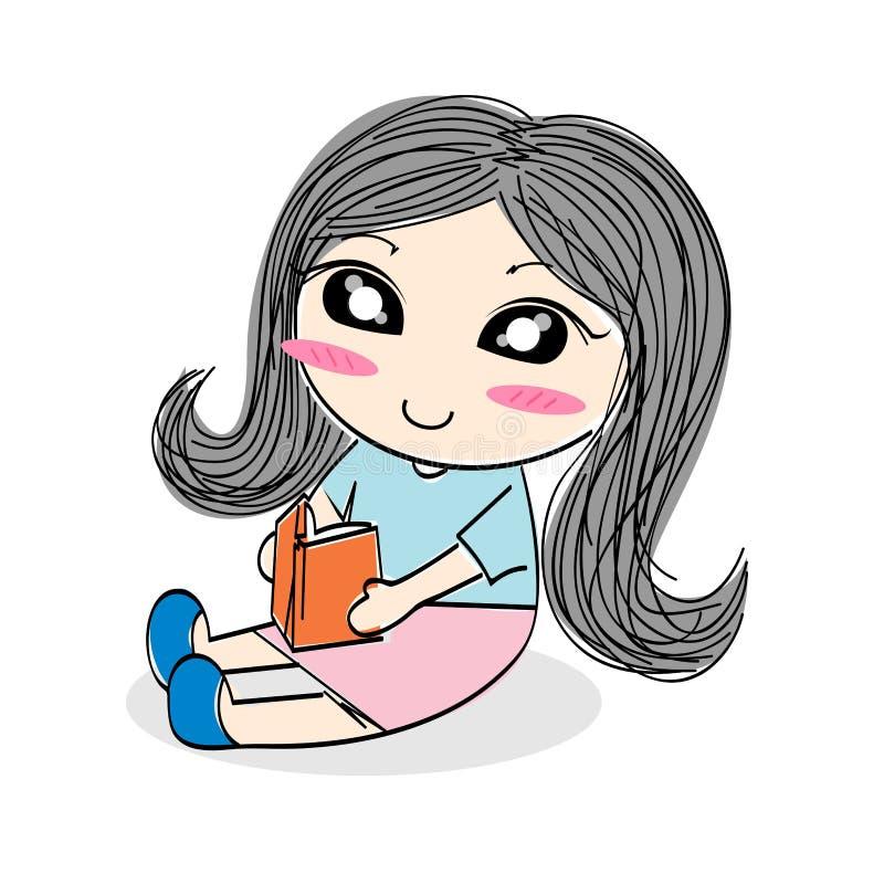 avläsning för flicka för boktecknad film gullig stock illustrationer