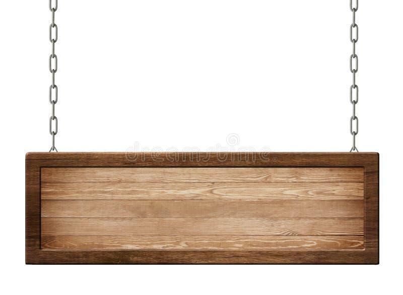 Avlångt träbräde med den mörka ramen som göras av naturligt trä som hänger på kedjor royaltyfri illustrationer
