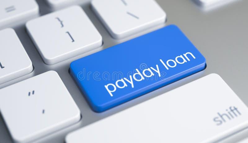 Avlöningsdaglån - text på det blåa tangentbordtangentbordet 3d royaltyfria foton