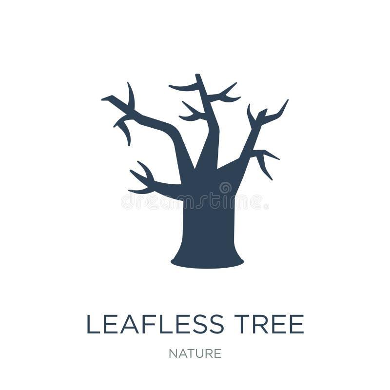 avlövad trädsymbol i moderiktig designstil avlövad trädsymbol som isoleras på vit bakgrund avlövad enkel trädvektorsymbol och royaltyfri illustrationer