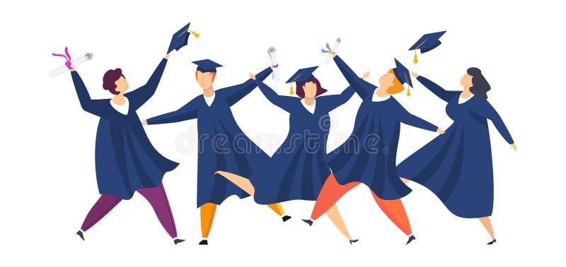 Avl?gga examen studenter Grupp av roligt folk Pojkar och flickor är lyckliga royaltyfri illustrationer