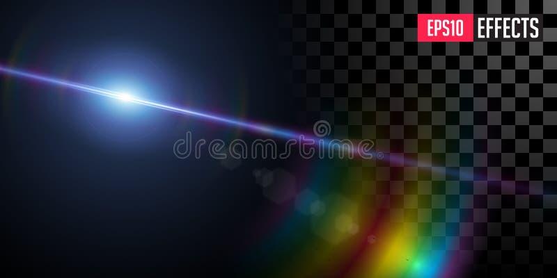 Avl?gsen stj?rna Sakkunniga Lens f?r den bl?a stj?rnan f?r science fictionen f?r vektorn blossar den genomskinliga ljus effekt royaltyfria bilder