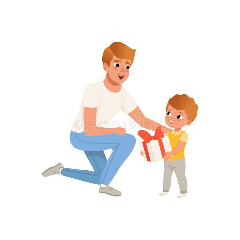 Avla att ge en gåva till hans son och att älska farsan och ungen som tillsammans spenderar vektorillustrationen för tid på en vit royaltyfri illustrationer