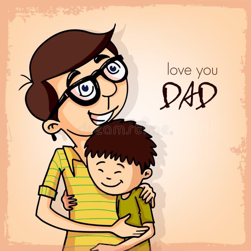 Avla att krama hans son för lyckliga faderns dag royaltyfri illustrationer