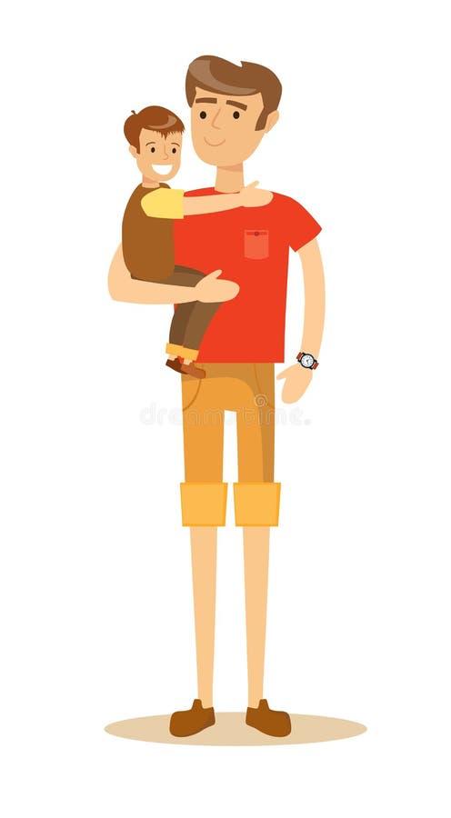 Avla att rymma hans son i hans armar och att le stock illustrationer