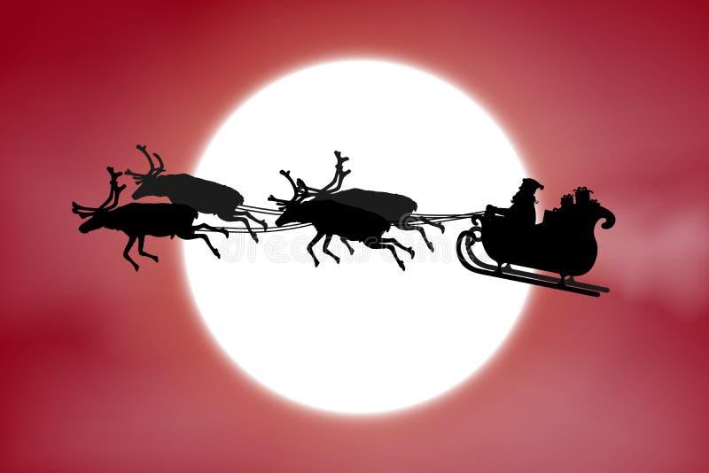 Avla Christmas som rider hans släde med renen som är främst av en fullmåne på röd himmelbakgrund royaltyfri illustrationer