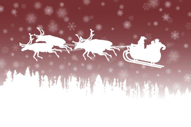 Avla Christmas som rider hans släde med renen över en skog på röd bakgrund vektor illustrationer