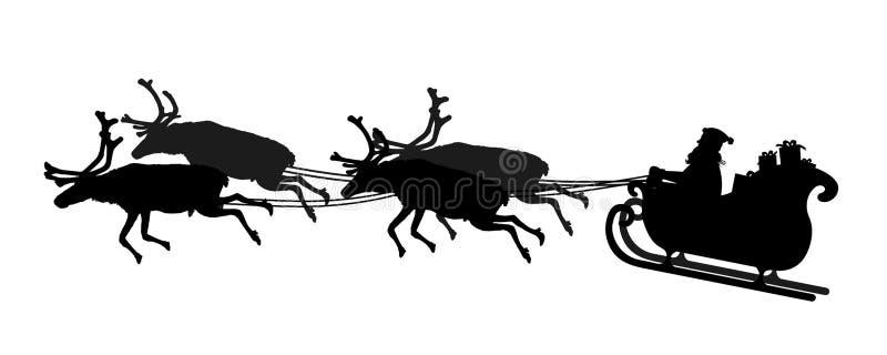 Avla Christmas som rider hans släde med renen på vit bakgrund vektor illustrationer