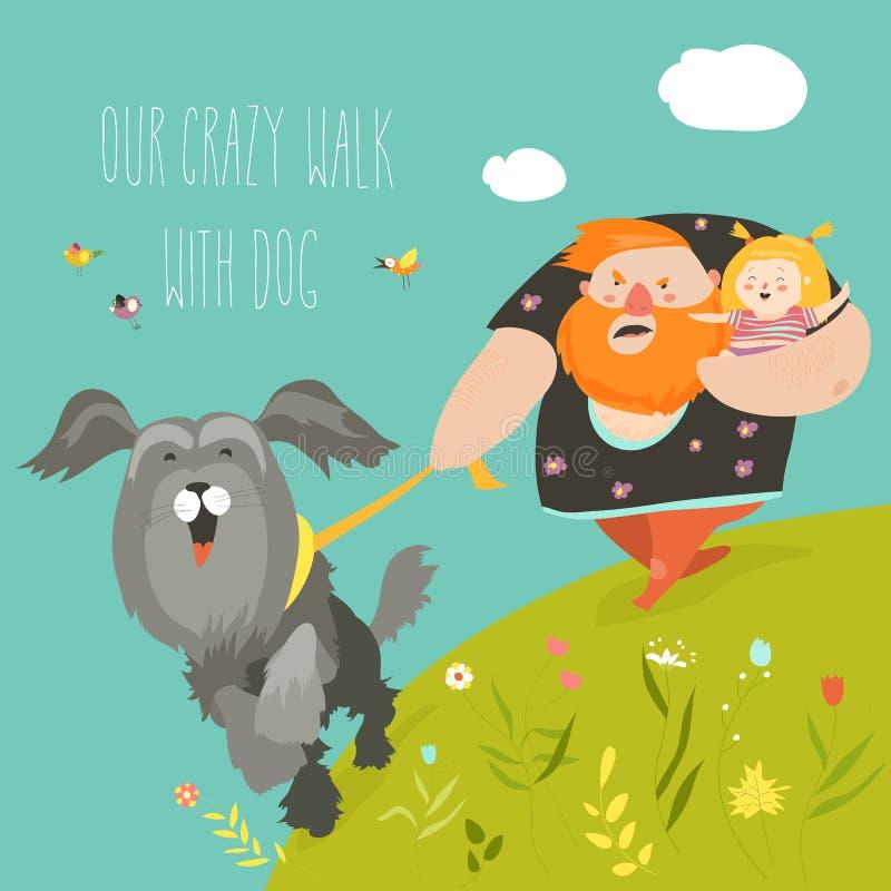 Avla med hans dotter som går med deras galna hund stock illustrationer