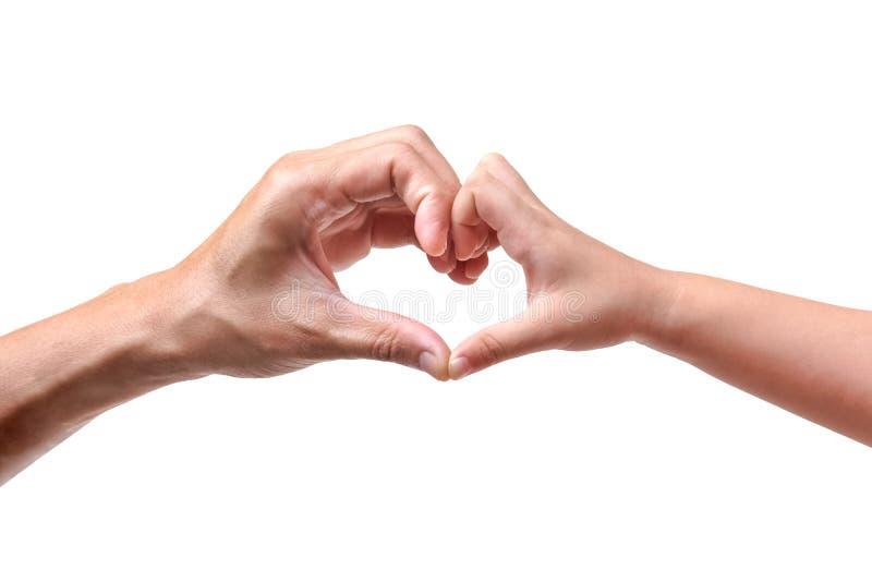 Avla och lura innehavhänder som bildar tillsammans en hjärtaform arkivfoton