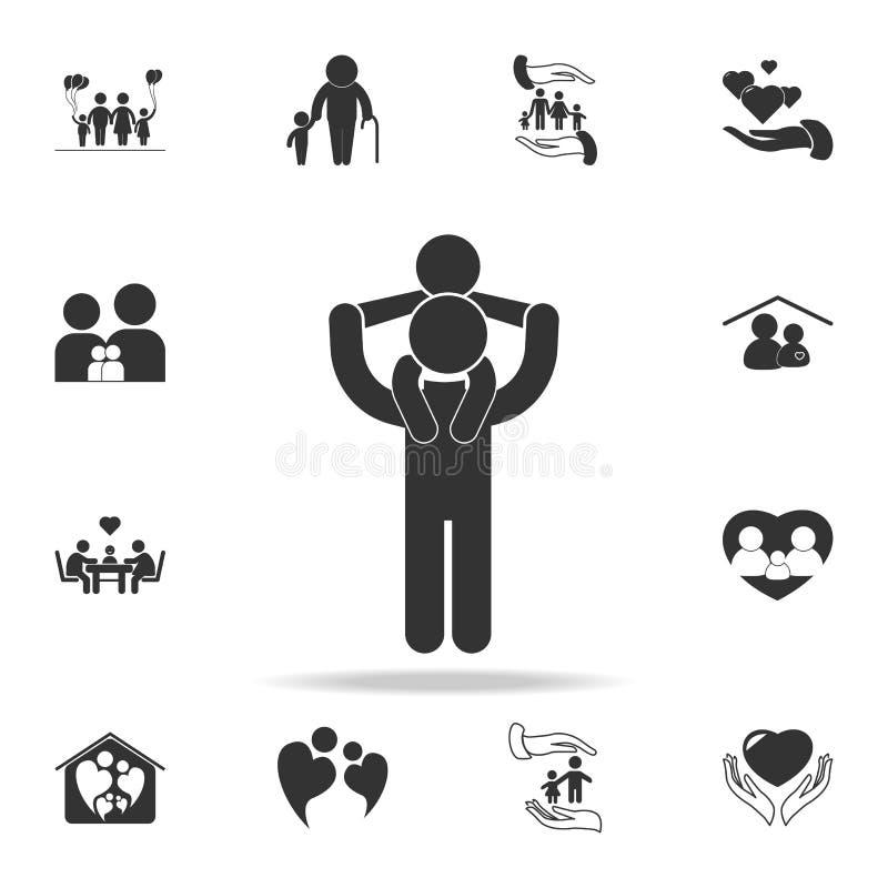 avla uppehällen barnet på hans skuldrasymbol Detaljerad uppsättning av symboler för människokroppdel Högvärdig kvalitets- grafisk royaltyfri illustrationer