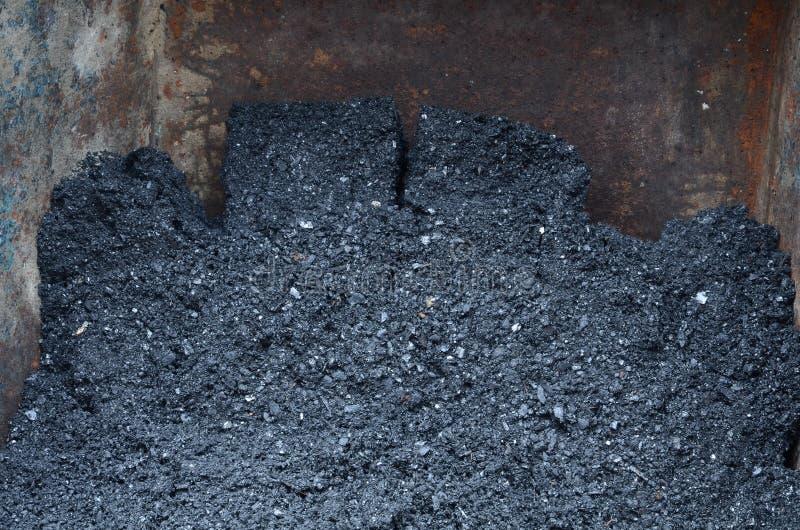 Avlastning av en kolgruva från en liten vagnsstängning royaltyfri fotografi