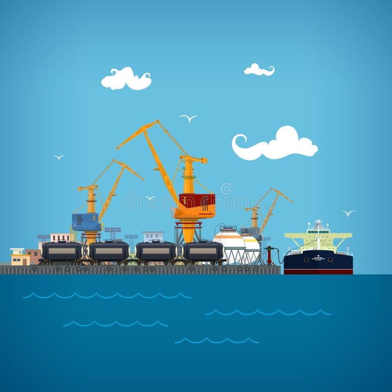 Avlastning av flytande i lasthavsporten stock illustrationer