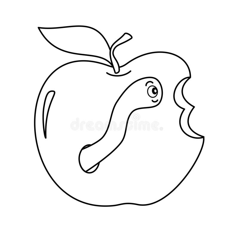 Avmaska i för tecknad filmvektorn för äpplet den gulliga roliga svartvita illustrationen för att färga konst stock illustrationer