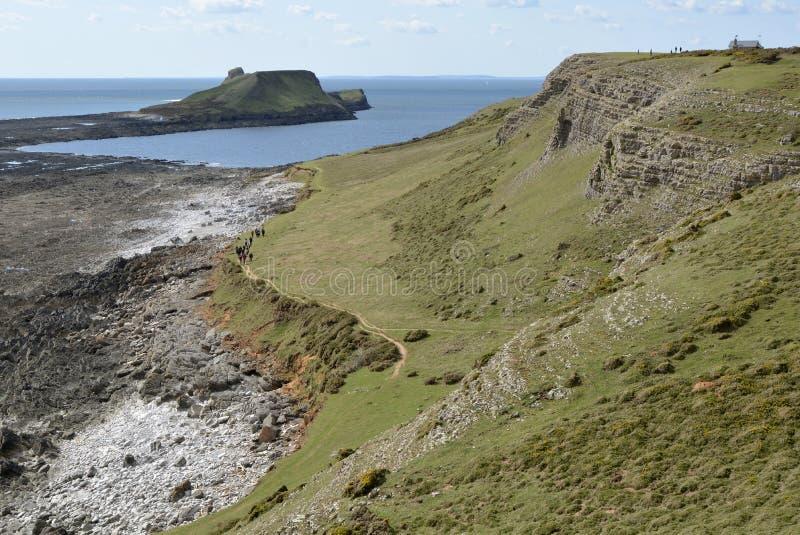 Avmaskar huvudet på Gower Peninsular, Wales, UK arkivbild