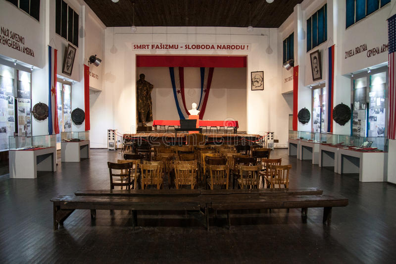 AVNOJ-museuminternen royalty-vrije stock foto