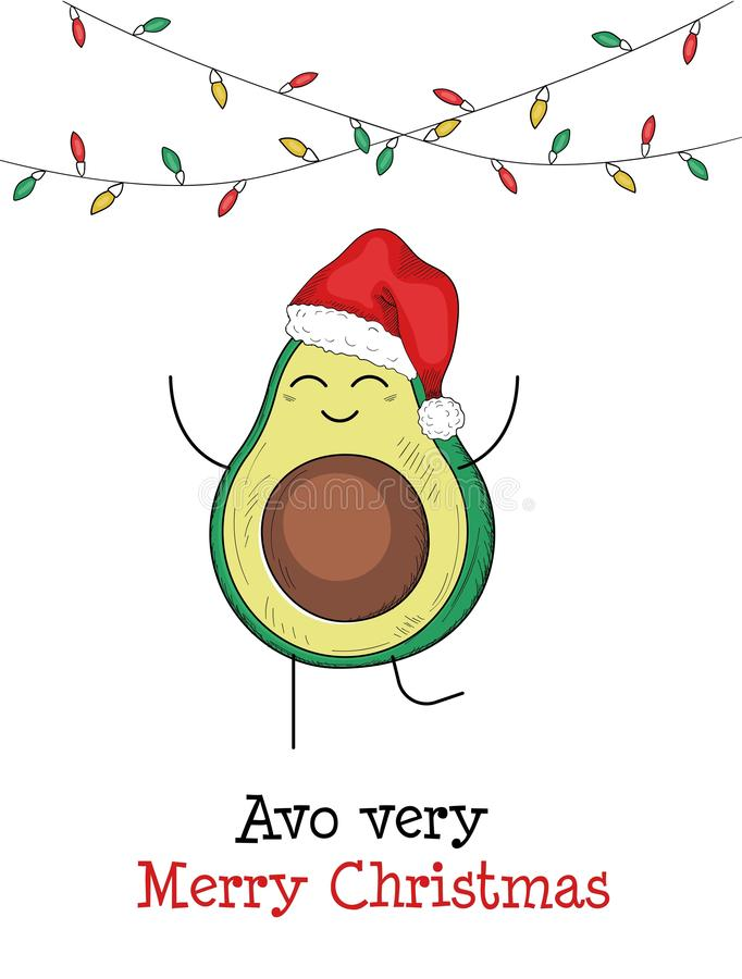 Avo very merry christmas avocado greeting card. Vector illustration. Festive template with cute small avocado character in santa claus cap flat style design royalty free illustration