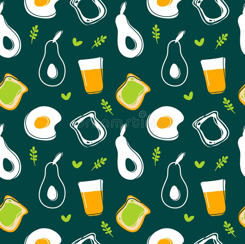 Avocado, bezszwowy wzór, smażący jajka, grzanki i soku, ilustracji