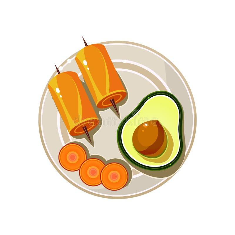 Avocado, Broodjes en Wortel Gediend Voedsel Vector stock illustratie