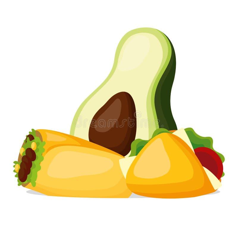 Avocado burrito taco royalty ilustracja