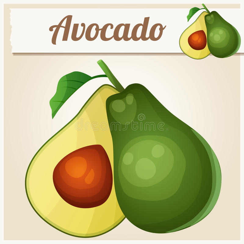 Avocado. Cartoon vector icon stock illustration
