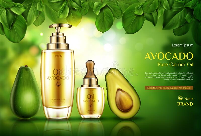 Avocado cosmetics oil. Natural skin care cosmetic. Avocado cosmetics oil. Organic product bottles with pomp and dropper mockup on green background with tree stock illustration