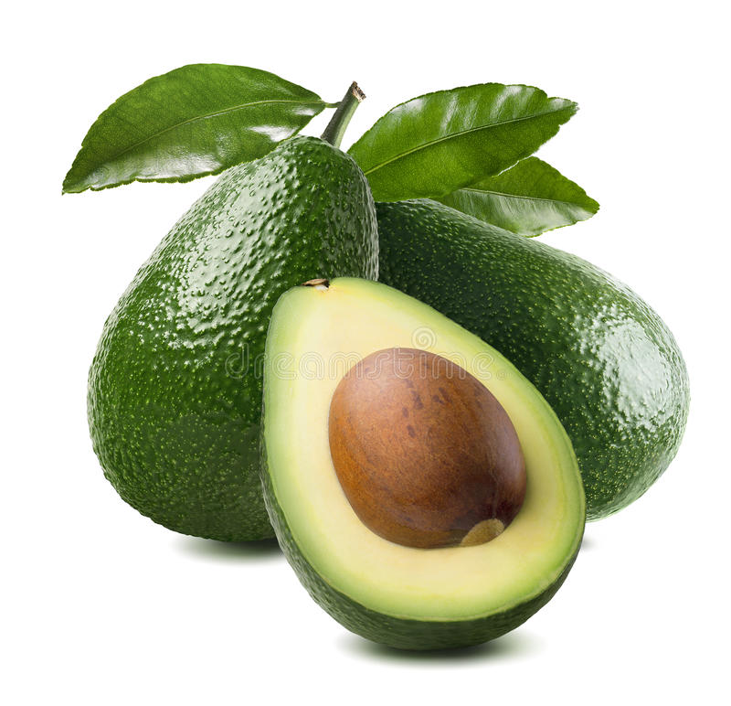 3 avocado cut half seed leaves isolated on white background stock photo