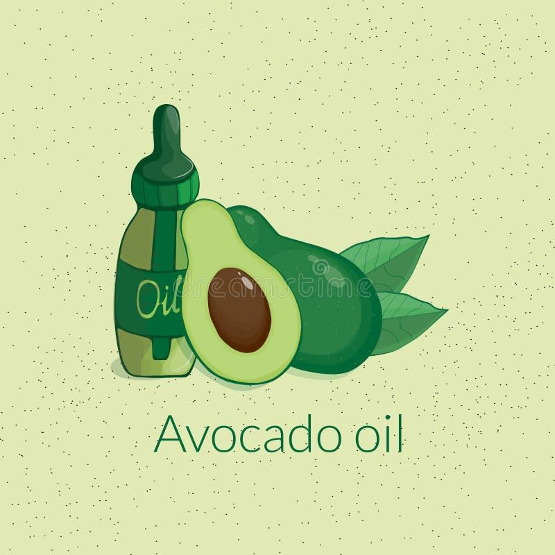 Avocado en diverse kosmetische kruiken en gebladerte royalty-vrije illustratie