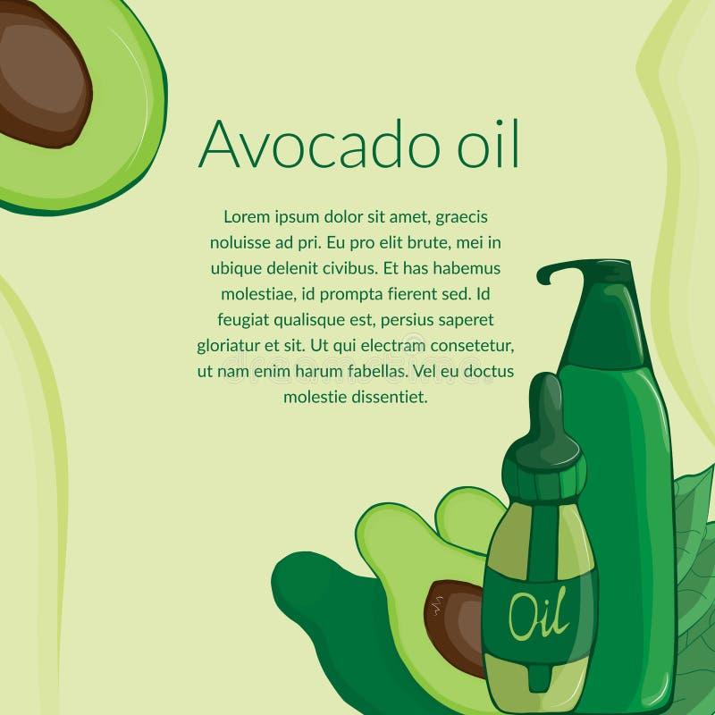 avocado en diverse kosmetische kruiken en gebladerte stock illustratie