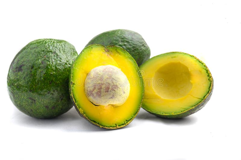 Avocado qua bo Vietnam. Avocado is famous in highland areas in Vietnam such as Dalat, Tay Nguyen, Lam Province... Ripe avocados that yield to gentle pressure stock photos