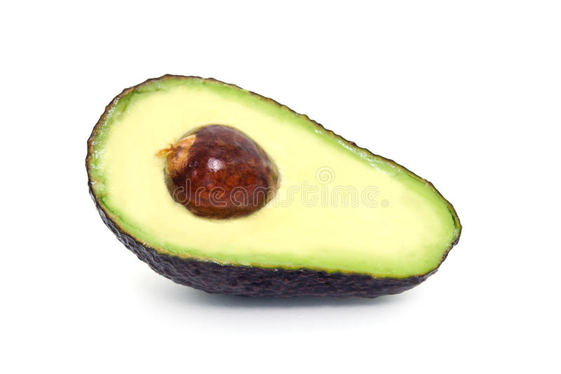 Avocado fruit isolated on white background. Avocado also named as Persea americana, Lauraceae avocado, alligator pear, criollo fruit, Aguacate in Spanish stock photo