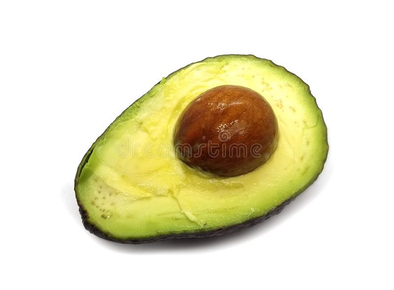 Avocado fruit isolated on white background. Avocado also named as Persea americana, Lauraceae avocado, alligator pear, criollo fruit, Aguacate in Spanish royalty free stock photos