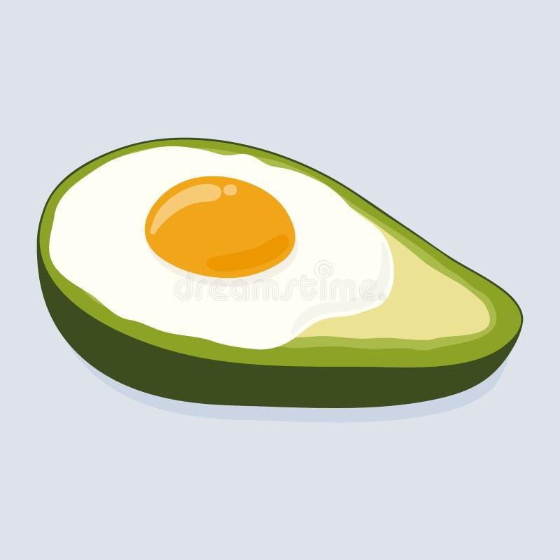 Avocado gebacken mit Ei Köstliches Ei in gezeichneter Illustration des Avocadovektors Hand vektor abbildung