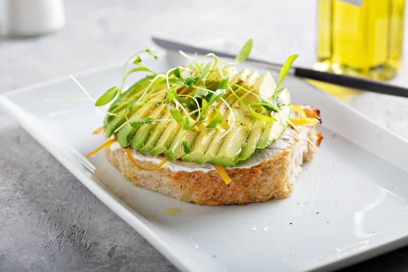 Avocado grzanka na kwaśnym ciasto chlebie fotografia stock