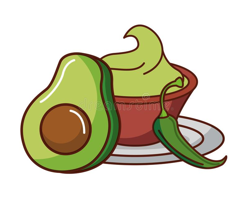 Avocado and guacamole chili pepper mexican food traditional vector illustration