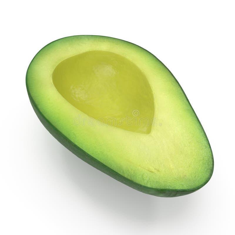 Avocado-H?lfte lokalisiert auf wei?er Illustration des Hintergrund-3D lizenzfreie stockfotos
