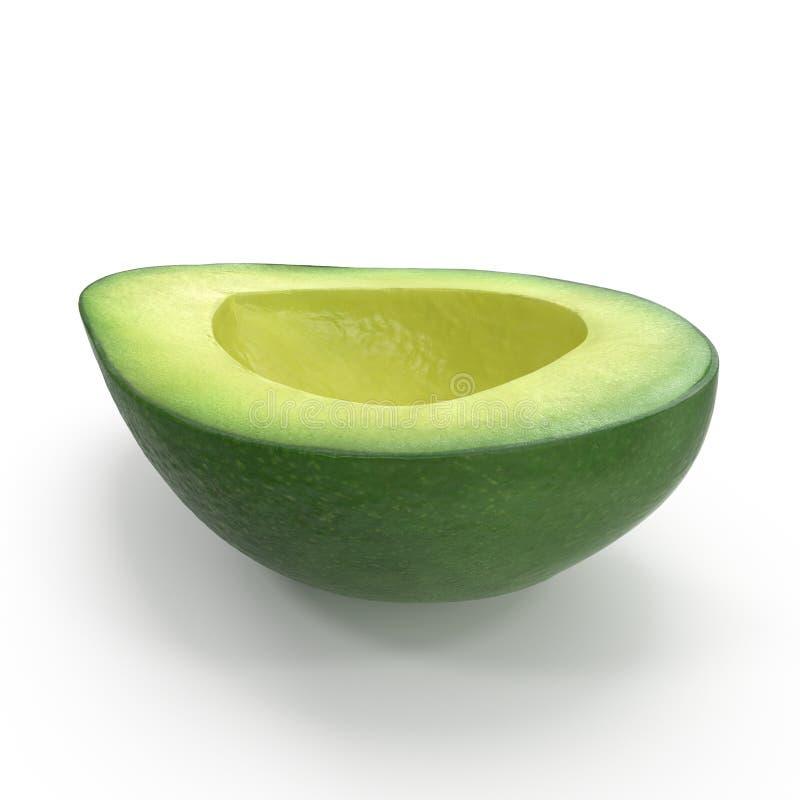Avocado-H?lfte lokalisiert auf wei?er Illustration des Hintergrund-3D stockbilder