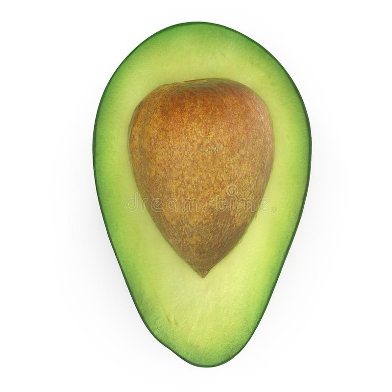Avocado halber Whith-Samen lokalisiert auf wei?er Illustration des Hintergrund-3D stockfoto
