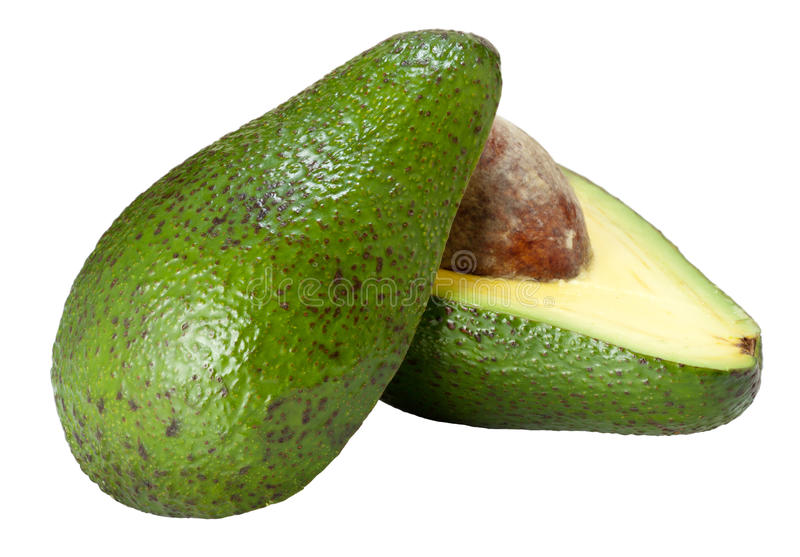 Avocado on half. With clipping path royalty free stock photo