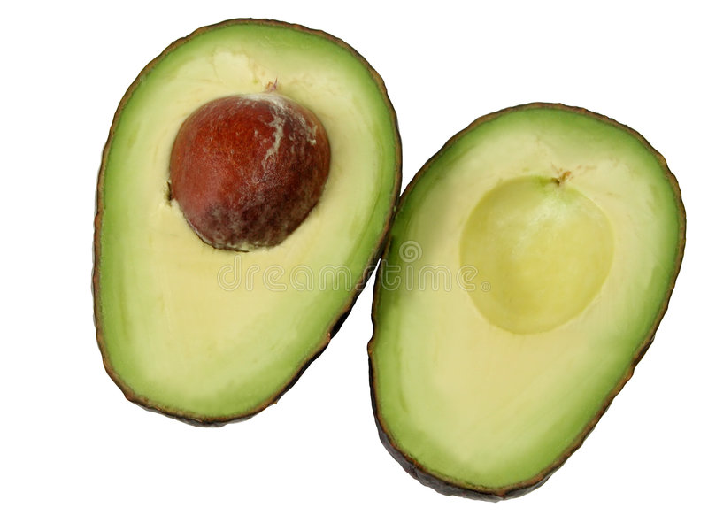 Avocado halves-clipping path stock photo
