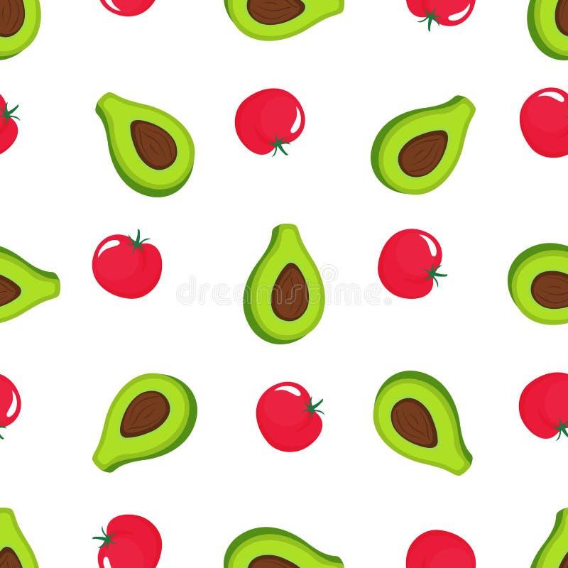 Avocado i czerwień pomidorowy bezszwowy wzór Organicznie jarski jedzenie Używać dla projekta ukazuje się, tkaniny, tkaniny, pakuj ilustracji