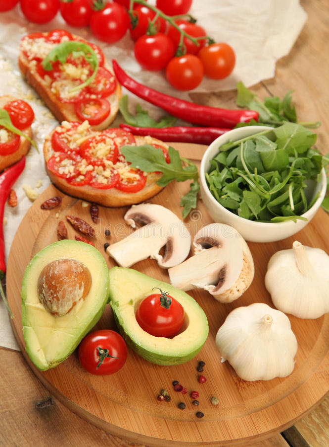 Avocado I pomidor obraz stock
