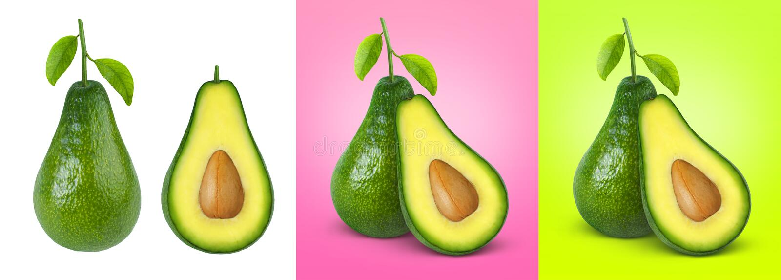 Avocado isolated on white, pink and green background royalty free stock photos