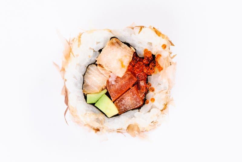 avocado kawioru ryba czerwonego suszi odgórny widok zdjęcie royalty free