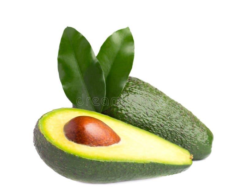 Avocado maturo fresco con le foglie verdi isolate su bianco immagine stock