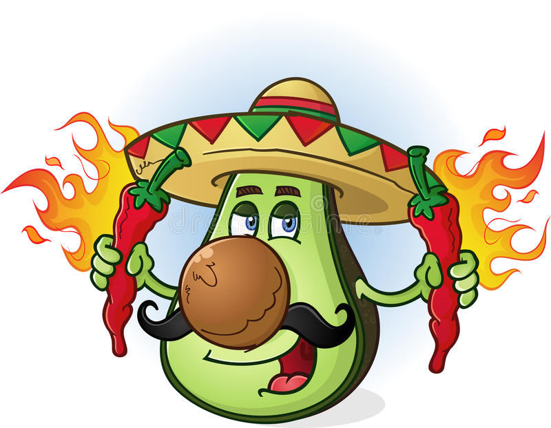 Avocado Mexican Cartoon Character Holding Hot Chili Peppers. A Mexican avocado cartoon character wearing a sombrero and holding two flaming hot chili peppers on vector illustration